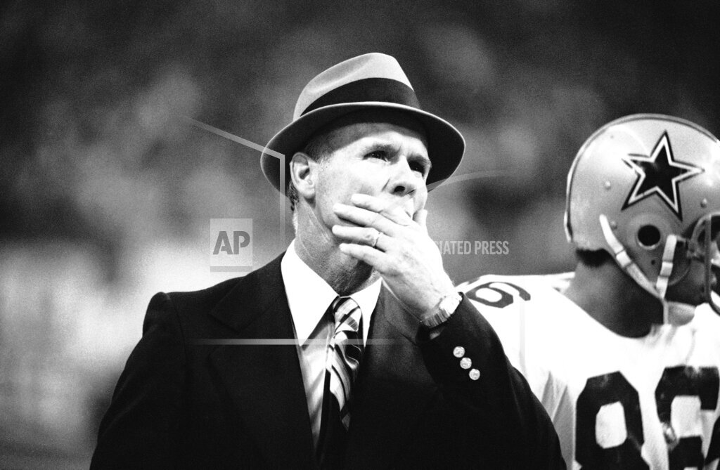 Watchf AP S  TX USA APHS273574 Dallas Cowboys coach Tom Landry   Reacting