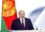 Belarus President Alexander Lukashenko delivers his speech during a state-of-the-nation address ahead of Sunday's election in Minsk, Belarus, Tuesday, Aug. 4, 2020. Belarus's authoritarian leader is vowing to maintain a close alliance with Russia despite the latest tensions as he seeks a sixth term in office amid a surge of opposition protests. President Alexander Lukashenko's comments in a state-of-the-nation address ahead of Sunday's election contrast with his diatribes against Russia last week. (Maxim Guchek/BelTA Pool Photo via AP)