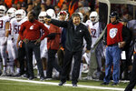 FILE - In this Saturday Oct. 6, 2018, file photo, Washington State head coach Mike Leach works the sideline during an NCAA college football game against Oregon State, in Corvallis, Ore. Washington State faces Stanford on Saturday, Oct. 27. (AP Photo/Timothy J. Gonzalez, File)