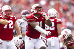 Nebraska's Jordon Riley (91) celebrates a tackle against Fordham during the second half of an NCAA college football game Saturday, Sept. 4, 2021, at Memorial Stadium in Lincoln, Neb. (AP Photo/Rebecca S. Gratz)