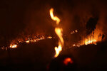 FILE - In this Aug. 25, 2019 file photo, a fire burns in highway margins in the city of Porto Velho, Rondonia state, part of Brazil's Amazon, Sunday, Aug. 25, 2019. The vast state of Amazonas has seen one of the sharpest increases in fires this year, with over 6,600 fires recorded in August, a 157% jump compared to the same month a year ago. (AP Photo/Eraldo Peres, File)
