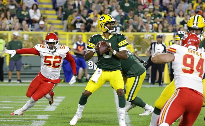 Green Bay Packers' DeShone Kizer throws during the first half of a preseason NFL football game against the Kansas City Chiefs Thursday, Aug. 29, 2019, in Green Bay, Wis. (AP Photo/Mike Roemer)
