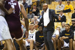 Missouri head coach Cuonzo Martin shouts at his team during the first half of an NCAA college basketball game against Texas A&M Tuesday, Jan. 21, 2020, in Columbia, Mo. (AP Photo/L.G. Patterson)