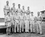FILE - This Aug. 17, 1945, file photo shows crew members of the Enola Gray, B-29 Superfortress from which the first atomic bomb was dropped on Hiroshima, western Japan. From left to right are, front row: 1st Lt. Jacob Beser, 2nd Lt. Norris R. Jeppson Capt. Theodore J. Van Kirk; Maj. Thomas W. Ferebee, Capt. William S. Parsons, Col. Paul W. Tibbets Jr., Capt. Robert A. Lewis. Back row, left to right: Sgt. Robert R. Shumard, Pfc., Richard H. Nelson, Sgt. Joe A. Stiborn, Sgt. Wyatt E. Duzenbury, Sgt. George R. Caron. (AP Photo/Max Desfor, File)
