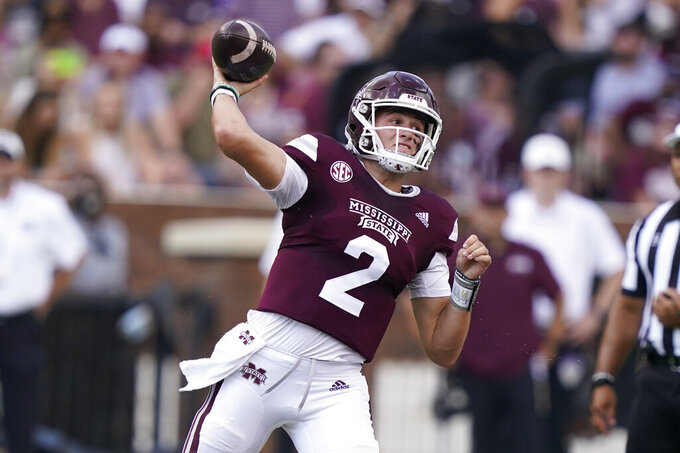 Mississippi State quarterback Will Rogers (2) passes against Louisiana Tech during the first half of an NCAA college football game in Starkville, Miss., Saturday, Sept. 4, 2021. (AP Photo/Rogelio V. Solis)