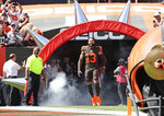 Cleveland Browns wide receiver Odell Beckham Jr. is introduced before an NFL football game against the Tennessee Titans, Sunday, Sept. 8, 2019, in Cleveland. (AP Photo/Ron Schwane)