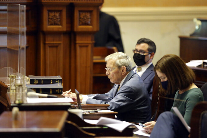 South Carolina Senate Finance Committee Chairman Hugh Leatherman, R-Florence, takes notes during a debate asking senators to remove spending projects from the state budget on Wednesday, April 28, 2021, in Columbia, S.C. Senators are debating the state's roughly $10 billion spending plan. (AP Photo/Jeffrey Collins)