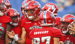 Florida Atlantic quarterback Chris Robison, center, celebrates a touchdown late in the second quarter against Old Dominion during an NCAA college football game Saturday, Oct. 6, 2018, in Boca Raton, Fla. (Jim Rassol/South Florida Sun-Sentinel via AP)