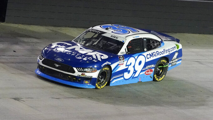 Ryan Sieg (39) drives during a NASCAR Xfinity Series auto race at Bristol Motor Speedway Friday, Sept. 17, 2021, in Bristol, Tenn. (AP Photo/Mark Humphrey)