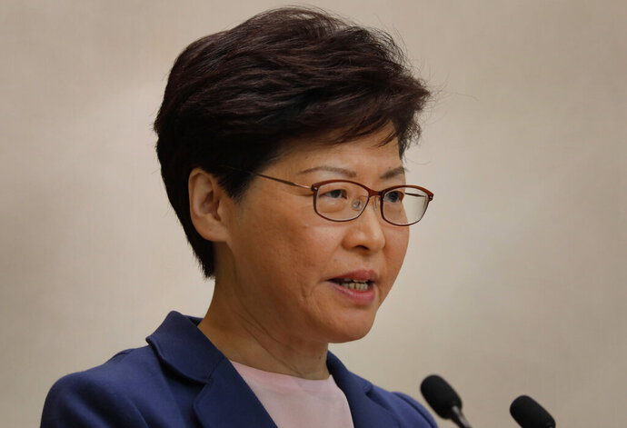 Hong Kong Chief Executive Carrie Lam speaks during a press conference in Hong Kong, Tuesday, July 9, 2019. Lam said Tuesday the effort to amend an extradition bill was dead, but it wasn't clear if the legislation was being withdrawn as protesters have demanded. (AP Photo/Vincent Yu)
