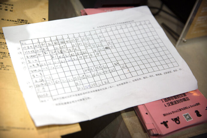 A sheet of paper shows a log of employees' temperatures at a Moka Bros cafe in Beijing, Friday, Feb. 14, 2020. For Valentine's Day Moka Bros, a health food eatery in Beijing, offered a special that included both a rose and a note logging the temperature of the chef that made the meal. Like many businesses in China, the restaurant has struggled to cope with the impact of a virus that has infected tens of thousands of people worldwide and sent several cities into lockdown. (AP Photo/Mark Schiefelbein)
