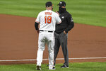 Baltimore Orioles manager Brandon Hyde (18) argues with the umpire after ejection during the fourth inning of a baseball game against the Atlanta Braves, Tuesday, Sept. 15, 2020, in Baltimore. (AP Photo/Terrance Williams)