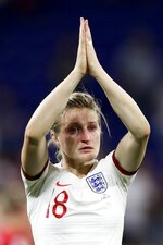 England's Ellen White reacts after losing the Women's World Cup semifinal soccer match against United States, at the Stade de Lyon outside Lyon, France, Tuesday, July 2, 2019. (AP Photo/Francisco Seco)
