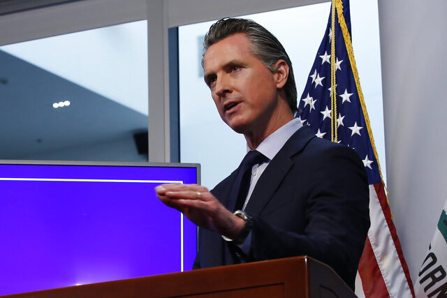 FILE— In this Tuesday April 14, 2020, file photo, California Gov. Gavin Newsom discusses an outline for what it will take to lift coronavirus restrictions, during a news conference at the Governor's Office of Emergency Services in Rancho Cordova, Calif. Newsom says the state will have thousands of workers to track down everyone who may be infected by each person who contracts coronavirus. Newsom said Monday, May 4, 2020, that counties will have to show they can perform so-called contact tracing as a prerequisite to reopening businesses. (AP Photo/Rich Pedroncelli, File)