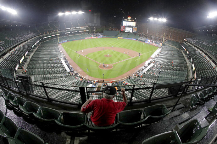 A man reacts to a play during the sixth inning of a baseball game between the Baltimore Orioles and the Tampa Bay Rays, Thursday, Aug. 22, 2019, in Baltimore. The Rays won 5-2. (AP Photo/Julio Cortez)
