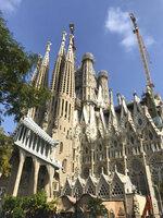 This Oct. 14, 2019 photo shows the Basílica de Sagrada Família, Anton Gaudí's unfinished landmark, under construction in Barcelona, Spain. (Courtney Bonnell via AP)
