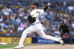 San Diego Padres starter Joe Musgrove delivers a pitch against the Colorado Rockies during the first inning of a baseball game Thursday, July 29, 2021, in San Diego. (AP Photo/Derrick Tuskan)