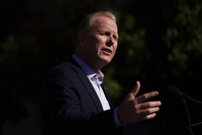 FILE - In this Feb. 2, 2021, file photo, former San Diego Mayor Kevin Faulconer, a Republican, speaks during a news conference in the San Pedro section of Los Angeles. Faulconer is running in the recall election to replace Democratic Gov. Gavin Newsom. (AP Photo/Jae C. Hong, File)