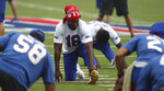 Buffalo Bills wide receiver Andre Roberts (18) stretches in warm-ups at practice today at Bills Stadium in Orchard Park, N.Y., Wednesday, Sept. 2, 2020. (James P. McCoy/ The Buffalo News via AP, Pool)