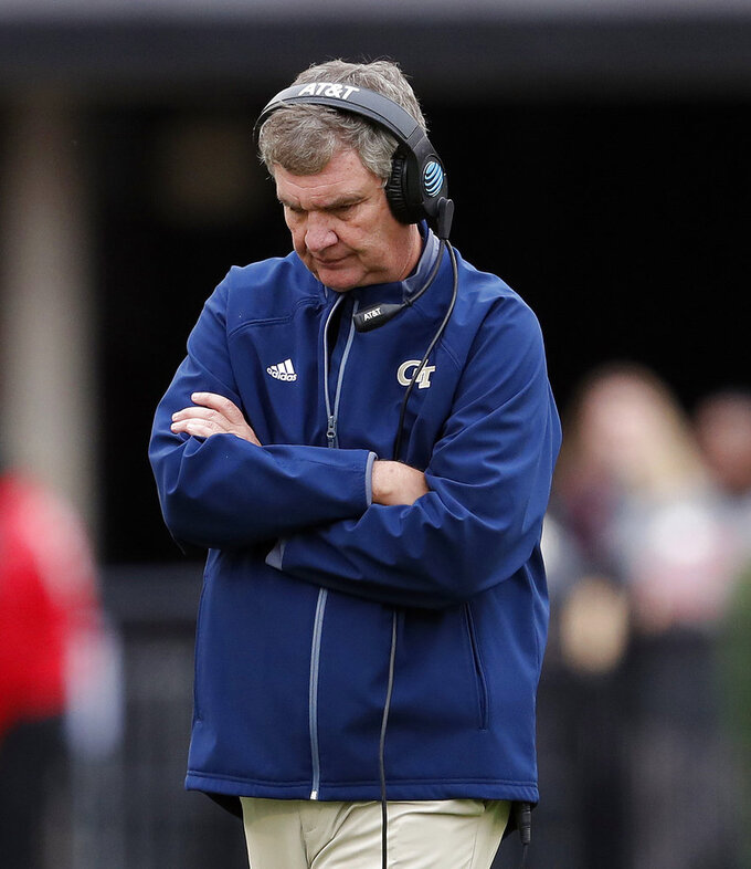 FILE - In this Saturday, Nov. 24, 2018, file photo, Georgia Tech head coach Paul Johnson paces during the second half an NCAA college football game against Georgia in Athens, Ga. A person familiar with the decision tells The Associated Press that Johnson is retiring. The person spoke on condition of anonymity on Wednesday, Nov. 28, 2018, because the school had not made an official announcement.  (AP Photo/John Bazemore)