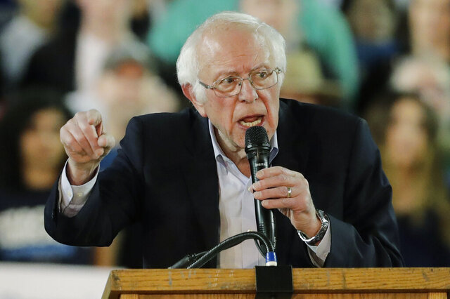Democratic presidential candidate Sen. Bernie Sanders I-Vt., speaks at a campaign event in Tacoma, Wash., Monday, Feb. 17, 2020. (AP Photo/Ted S. Warren)