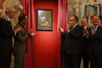 From second left, German Foreign Minister Heiko Mass, Italian Culture Minister Alberto Bonisoli, Uffizi Gallery director Eike Schmidt and Italian Foreign Minister Enzo Moavero Milanesi attend the unveiling of the