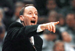 FILE - In this  Friday, March 20, 1998 file photo, Valparaiso coach Homer Drew directs his team against Rhode Island during the first half of a semifinal game in the NCAA Midwest Regional at the Kiel Center in St. Louis. Homer Drew soaked in the celebration Monday night. He had every reason. After coaching more than 1,000 games and watching his two sons coach almost another 900, the family had its first ticket to a Final Four — any Final Four. Scott Drew ended the family drought with Monday, March 29, 2021 victory over Arkansas in the South Region championship game. (AP Photo/Cliff Schiappa, File)