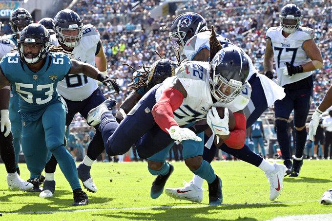 Tennessee Titans running back Derrick Henry (22) dives for a touchdown past Jacksonville Jaguars linebacker Dakota Allen (53) during the second half of an NFL football game, Sunday, Oct. 10, 2021, in Jacksonville, Fla. (AP Photo/Phelan M. Ebenhack)