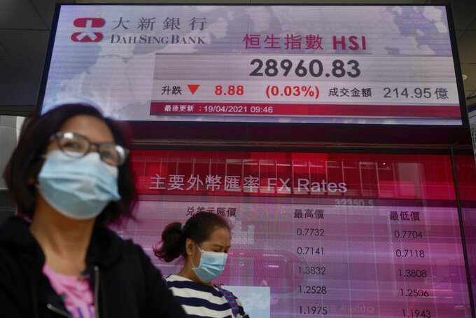 People wearing face masks walk past a bank's electronic board showing the Hong Kong share index at Hong Kong Stock Exchange in Hong Kong Monday, April 19, 2021. Asian shares were mixed Monday amid cautious optimism about a global rebound from the coronavirus pandemic. (AP Photo/Vincent Yu)