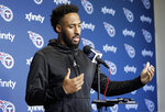 Tennessee Titans cornerback Logan Ryan answers questions during a news conference Monday, April 15, 2019, in Nashville, Tenn. The Titans are trying to figure out how to improve after three straight 9-7 seasons as the team begins their offseason program. (AP Photo/Mark Humphrey)