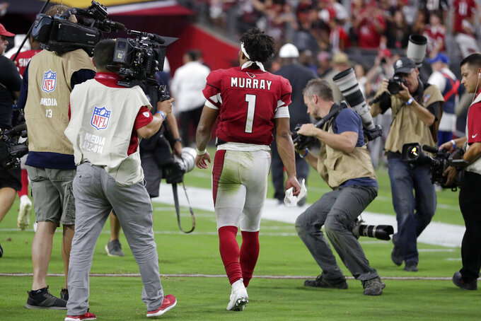 Arizona Cardinals quarterback Kyler Murray (1) leaves the field after an NFL football game against the Detroit Lions, Sunday, Sept. 8, 2019, in Glendale, Ariz. The Lions and Cardinals played to a 27-27 tie on overtime. (AP Photo/Darryl Webb)