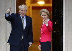 FILE - In this Wednesday, Jan. 8, 2020 file photo Britain's Prime Minister Boris Johnson greets European Commission President Ursula von der Leyen outside 10 Downing Street in London. It's more than four years since Britain voted to leave the European Union, and almost a year since Prime Minister Boris Johnson won an election by vowing to