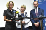 News conference with Sweden's Foreign Minister Margot Wallstrom, centre, Canada's Secretary Pamela Goldsmith Jones, left, and New Zealand's Attorney General Andrew Little, after the meeting on nuclear dIsarmament and the Non-Proliferation Treaty, in Stockholm, Sweden, Tuesday June 11, 2019. (Claudio Bresciani / TT via AP)