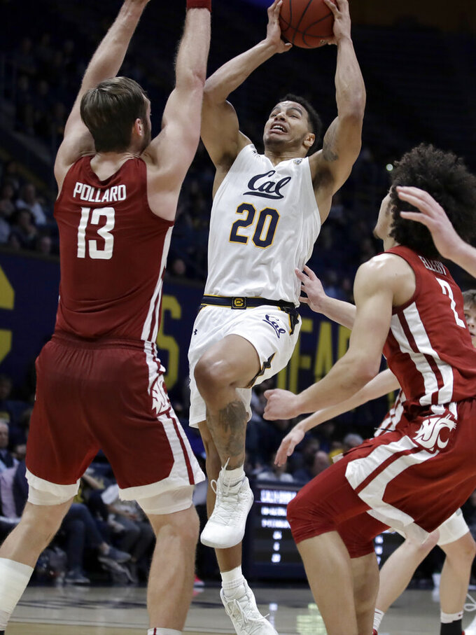 California's Matt Bradley (20) shoots over Washington State's Jeff Pollard (13) during the second half of an NCAA college basketball game Thursday, Jan. 9, 2020, in Berkeley, Calif. (AP Photo/Ben Margot)
