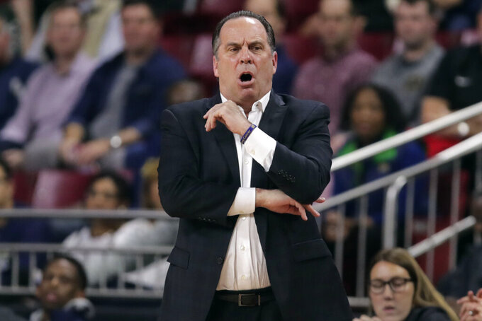 Notre Dame head coach Mike Brey reacts during the first half of an NCAA men's college basketball game against Boston College in Boston, Wednesday, Feb. 26, 2020. (AP Photo/Charles Krupa)