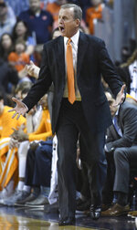 Tennessee head coach Rick Barnes talks to the team from the sidelines during the first half of an NCAA college basketball game against Auburn, Saturday, March 9, 2019, in Auburn, Ala. (AP Photo/Julie Bennett)