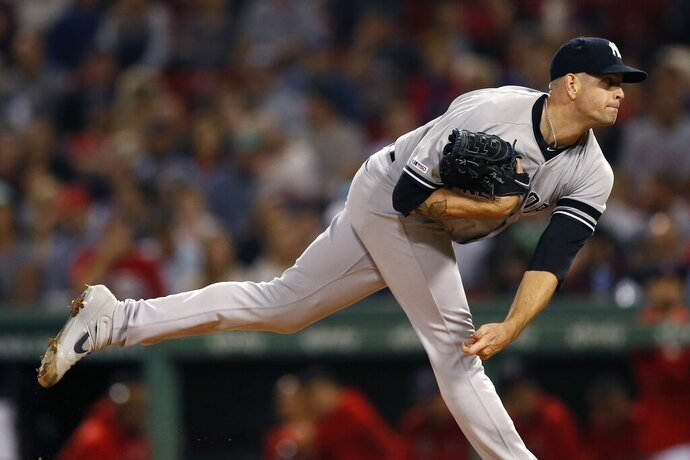 New York Yankees' James Paxton pitches during the first inning of a baseball game against the Boston Red Sox in Boston, Monday, Sept. 9, 2019. (AP Photo/Michael Dwyer)