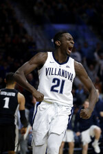 Villanova's Dhamir Cosby-Roundtree reacts after being fouled during the second half of an NCAA college basketball game against Providence, Wednesday, Feb. 13, 2019, in Villanova, Pa. Villanova won 85-67. (AP Photo/Matt Slocum)