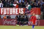 Mexico players celebrate a goal as a U.S. player walks away during the first half of an international friendly soccer match Friday, Sept. 6, 2019, in East Rutherford, N.J. (AP Photo/Kathy Willens)