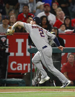 Houston Astros' Alex Bregman catches a foul ball hit by Los Angeles Angels' Shohei Ohtani during the third inning of a baseball game Tuesday, May 15, 2018, in Anaheim, Calif. (AP Photo/Jae C. Hong)