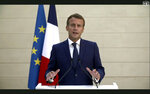In this image made from UNTV video, French President Emmanuel Macron speaks in a pre-recorded message which was played during the 75th session of the United Nations General Assembly, Tuesday, Sept. 22, 2020, at UN headquarters in New York. The U.N.'s first virtual meeting of world leaders started Tuesday with pre-recorded speeches from some of the planet's biggest powers, kept at home by the coronavirus pandemic that will likely be a dominant theme at their video gathering this year. (UNTV via AP)