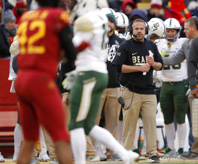 Baylor head coach Matt Rhule watches an NCAA college football game against Iowa State from the sideline during the first half Saturday, Nov. 10, 2018, in Ames. (AP Photo/Matthew Putney)