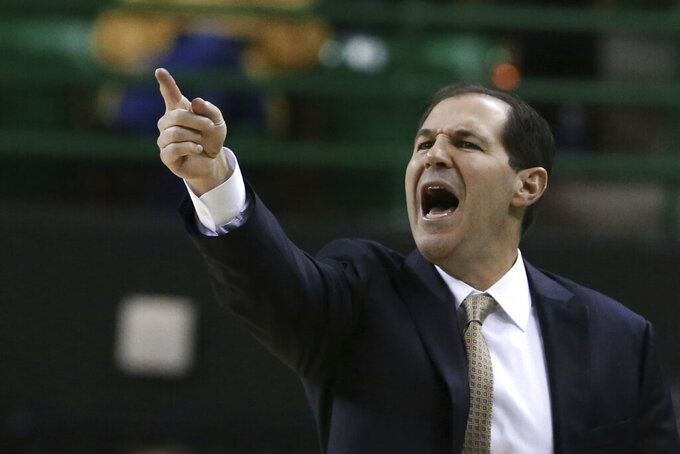 Baylor head coach Scott Drew call in an offensive play against Maryland-Eastern Shore in the second half of an NCAA college basketball game, Tuesday, Dec. 3, 2019, in Waco, Texas. Baylor won 78-46. (AP Photo/Rod Aydelotte)