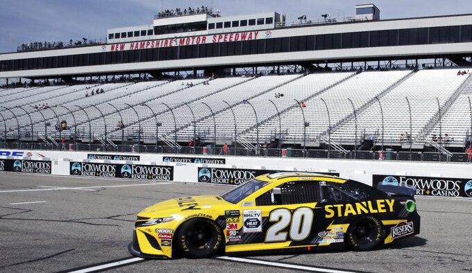 Erik Jones heads back to the garage during a NASCAR Cup Series auto race practice at New Hampshire Motor Speedway in Loudon, N.H., Saturday, July 20, 2019. Jones had the fastest lap during the morning practice. (AP Photo/Charles Krupa)
