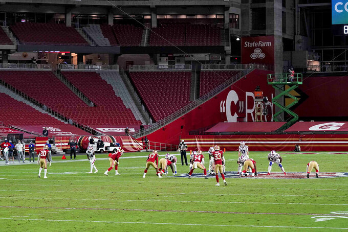 The Buffalo Bills and the San Francisco 49ers compete during the second half of an NFL football game, Monday, Dec. 7, 2020, in Glendale, Ariz. (AP Photo/Ross D. Franklin)