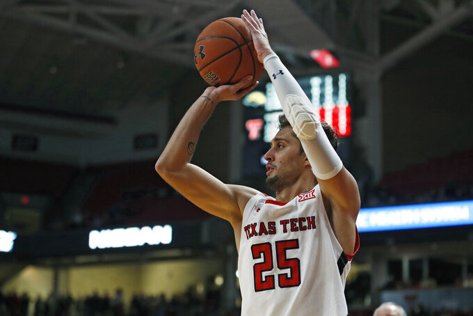 Texas Tech's Davide Moretti (25) shoots the ball for three points during the second half of an NCAA college basketball game against Southern Mississippi, Monday, Dec. 16, 2019, in Lubbock, Texas. (Brad Tollefson/Lubbock Avalanche-Journal via AP)