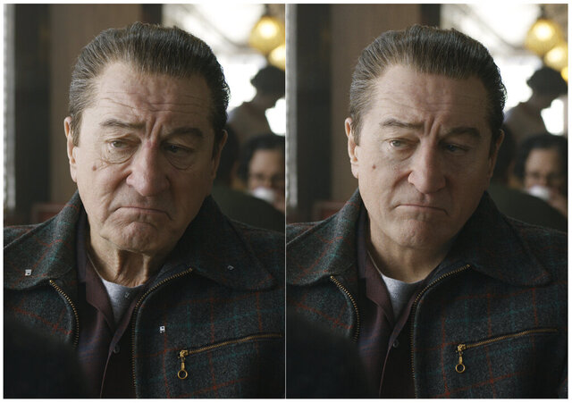 This combination of photos shows actor Robert De Niro, left, during the filming of
