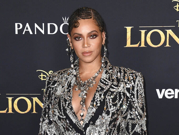 """FILE - This July 9, 2019 file photo shows Beyonce at the world premiere of """"The Lion King"""" in Los Angeles. Beyonce announced Thursday, April 23, 2020 that her BEYGood charity will partner with Twitter's Jack Dorsey's Start Small campaign to provide $6 million in relief funds. In partnership with UCLA, the funds will go organizations providing mental wellness services.(Photo by Jordan Strauss/Invision/AP, File)"""