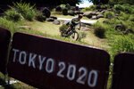 Campuzano Chavez Peon of Mexico rides during a training for the mountain bike cycling race, at the 2020 Summer Olympics, Friday, July 23, 2021, in Izu, Japan. (AP Photo/Thibault Camus)