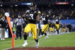 Iowa wide receiver Tyrone Tracy Jr. (3) scores a touchdown during the first half of the Holiday Bowl NCAA college football game against Southern California, Friday, Dec. 27, 2019, in San Diego. (AP Photo/Orlando Ramirez)